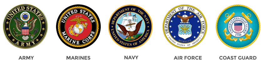Navy, Marines, Army, Air Force, Coast Guard